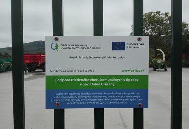 Podpora triedeného zberu komunálnych odpadov v obci Dolné Orešany